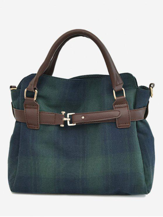 outfits Plaid Buckle Strap Tote Bag - GREEN