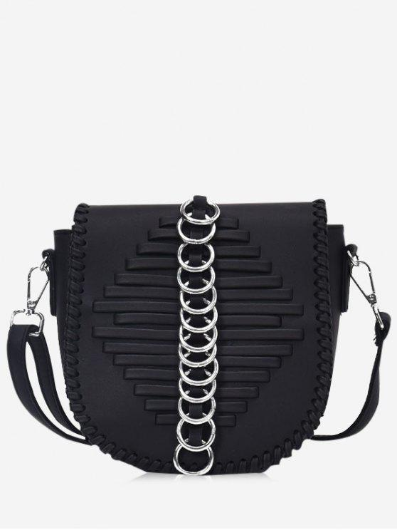 Metal Ring Whipstich Crossbody Bag - Preto