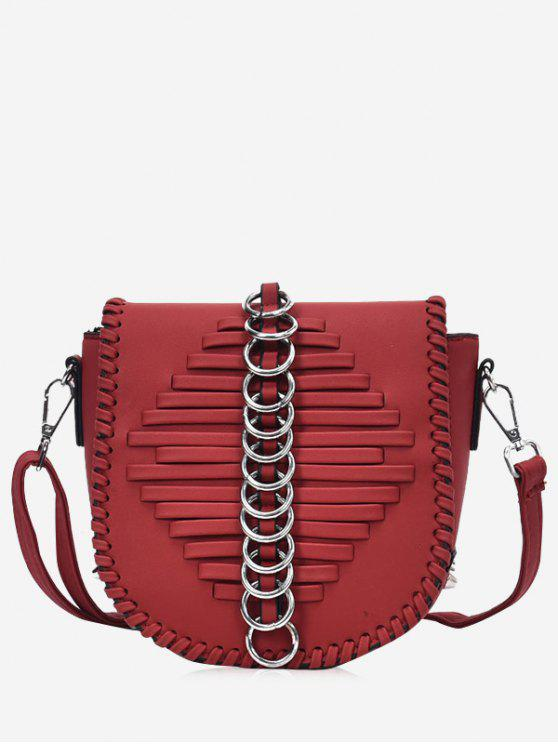 ladies Metal Ring Whipstich Crossbody Bag - WINE RED