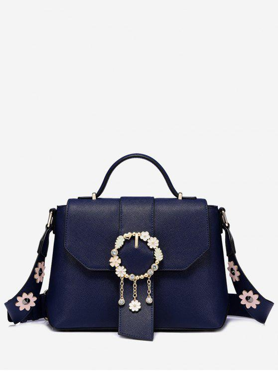 shops Flower Embellished Buckle Strap Crossbody Bag - BLUE