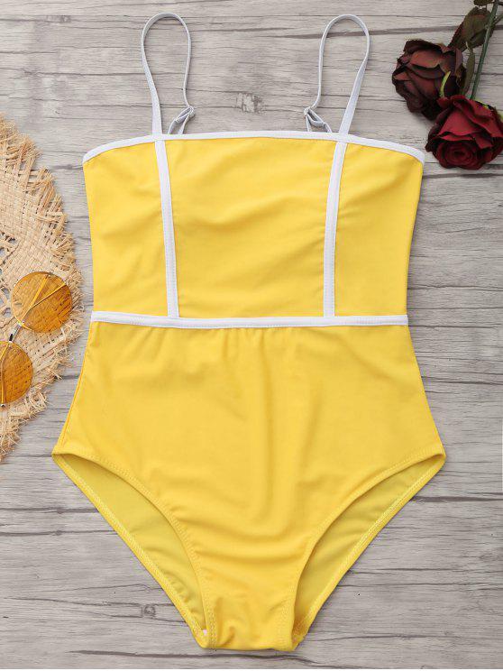 b6c0b8344863b 26% OFF  2019 Cami Piping One-piece Swimwear In MUSTARD S