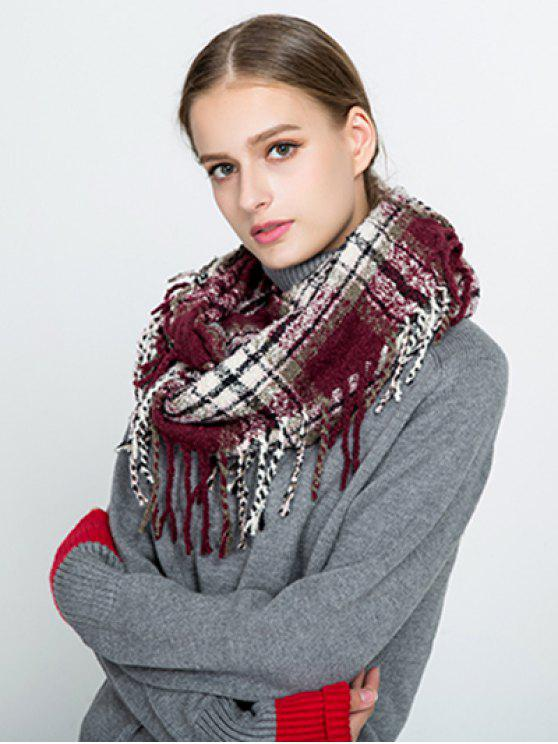 chic Plaid Tassel Ring Scarf - WINE RED