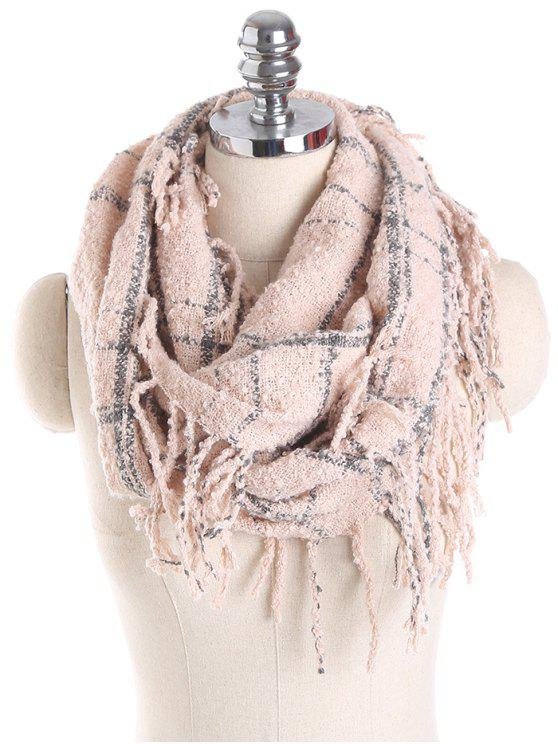 affordable Plaid Tassel Ring Scarf - PINK