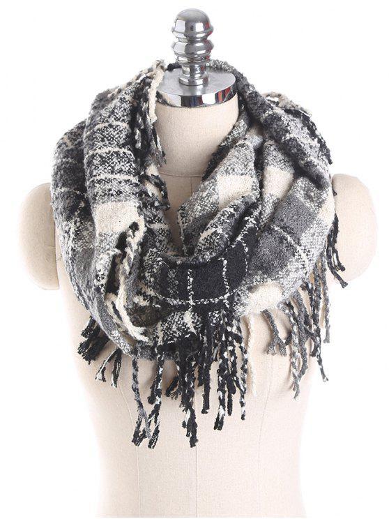 buy Plaid Tassel Ring Scarf - BLACK GREY