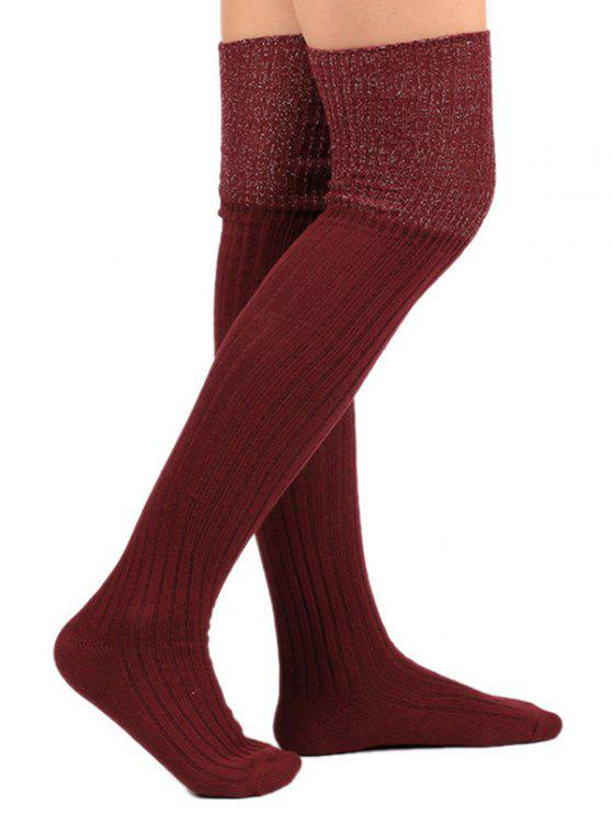 outfits Plain Ribbed Knitted Stockings - WINE RED
