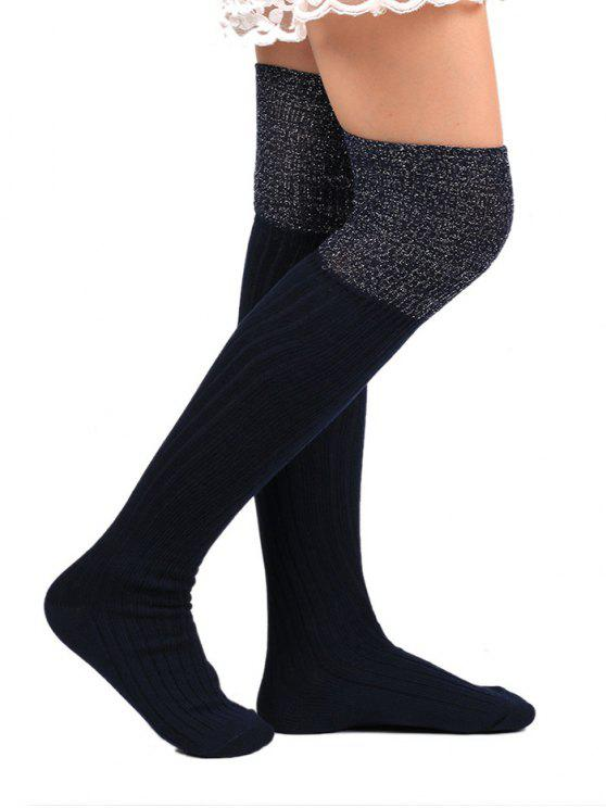 shops Plain Ribbed Knitted Stockings - PURPLISH BLUE
