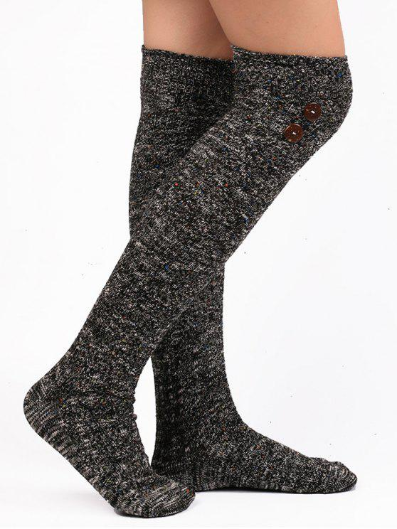 Button Embellished Knitted Stockings - Preto