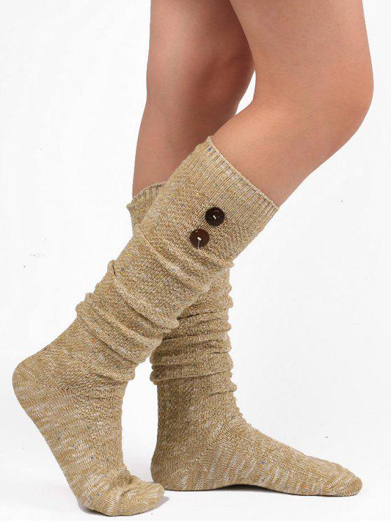 Button Embellished Knitted Stockings - Cáqui Claro
