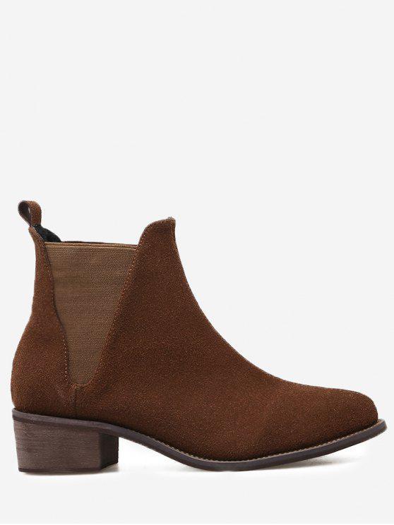 حذاء الكاحل من الجلد المدبوغ المزيف ذو كعب عريض - البني الفاتح 36