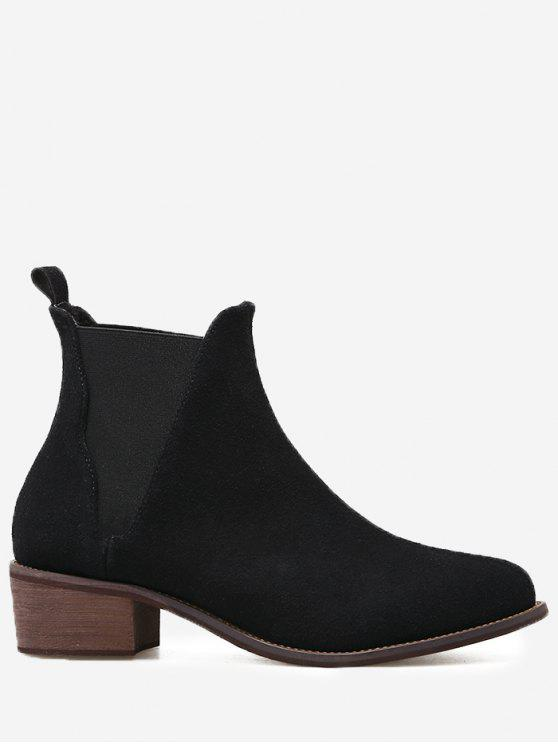 حذاء الكاحل من الجلد المدبوغ المزيف ذو كعب عريض - أسود 37