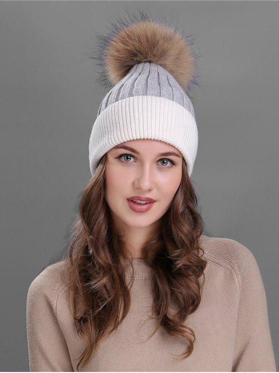 hot Fuzzy Ball Embellished Slouchy Beanie - WHITE
