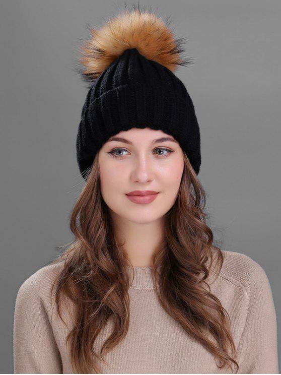 shop Outdoor Fur Pom Ball Knitting Beanie - BLACK