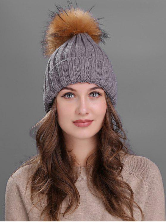 unique Outdoor Fur Pom Ball Knitting Beanie - GRAY