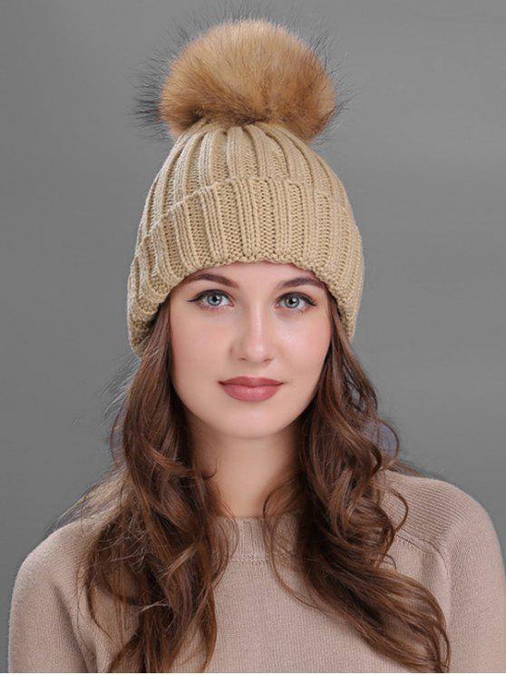 affordable Outdoor Fur Pom Ball Knitting Beanie - KHAKI