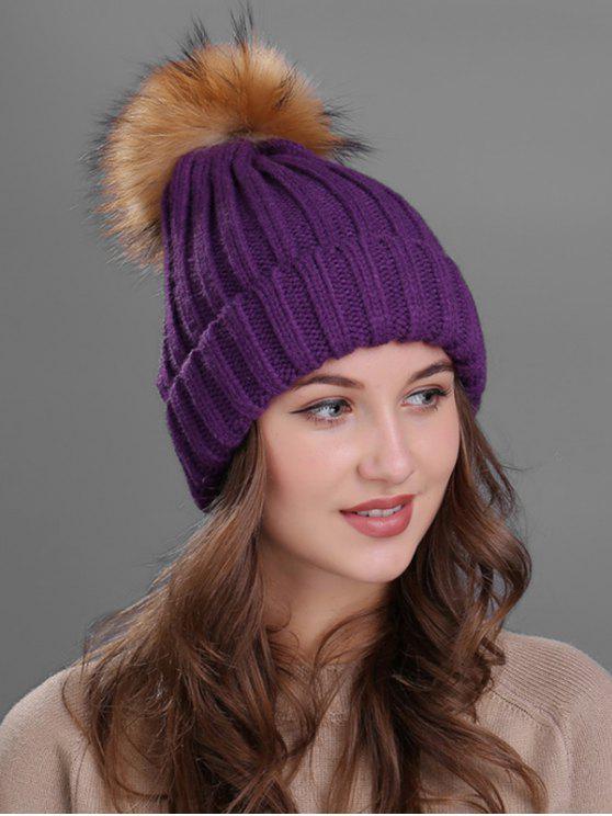 lady Outdoor Fur Pom Ball Knitting Beanie - PURPLE