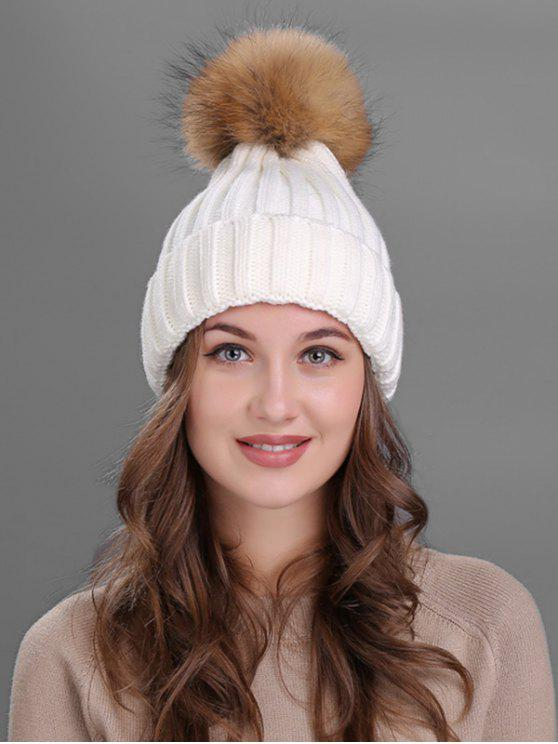 outfits Outdoor Fur Pom Ball Knitting Beanie - WHITE
