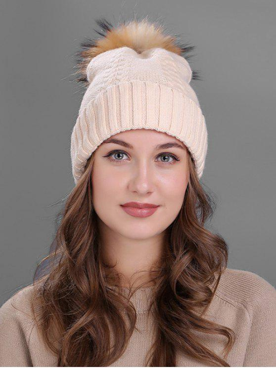 Fuzzy Ball Embellished Flanging Knitted Beanie - Bege