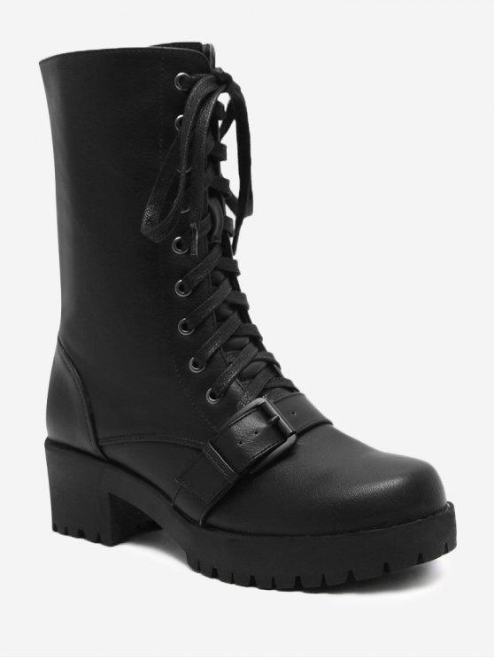 women Block Heel Buckle Strap Mid-calf Boots - BLACK 39