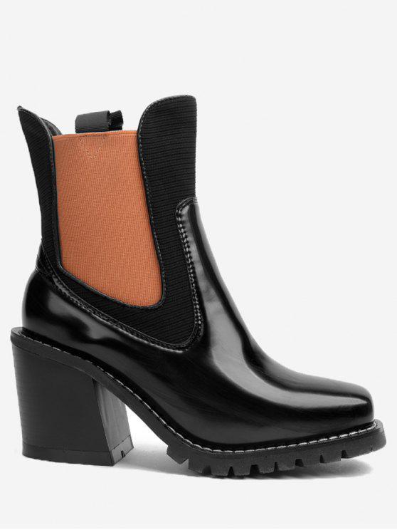 حذاء الكاحل بكعب عريض قابل للتمدد من الجانبين - البرتقالي 37