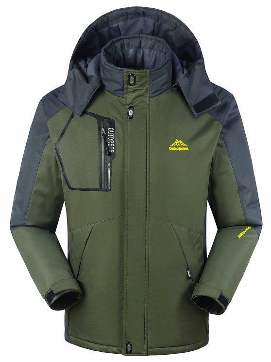 Forro de piel bloque de color cremallera chaqueta de viento - Verde del ejército M