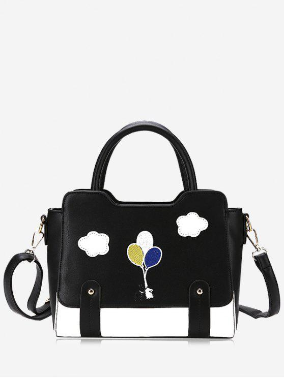 Patchwork Color Block Remaches Crossbody Bag - Negro