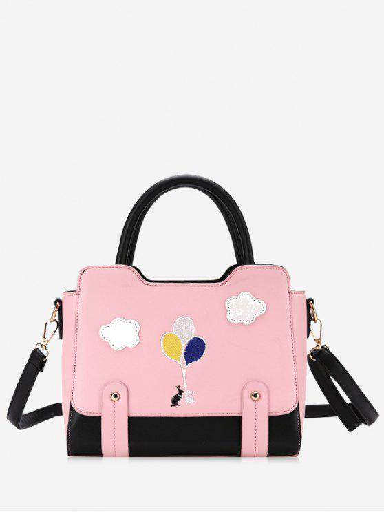 Patchwork Color Block Rivets Crossbody Bag - Rosa