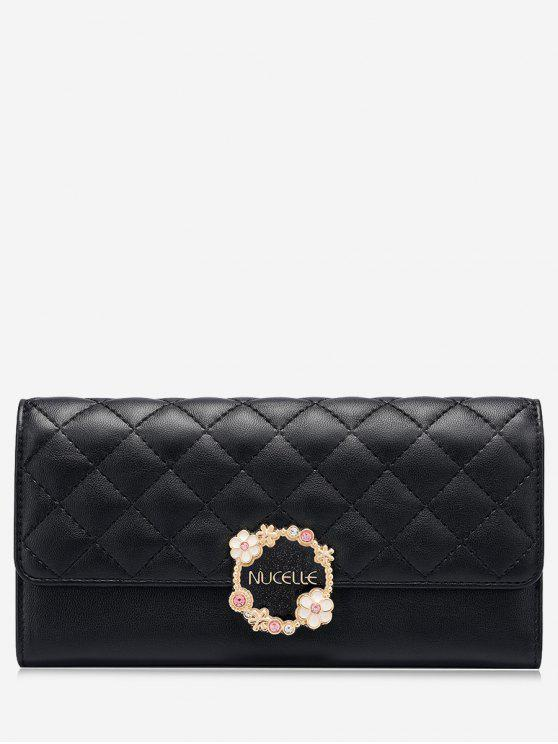 sale Quilted Flower Wallet - BLACK
