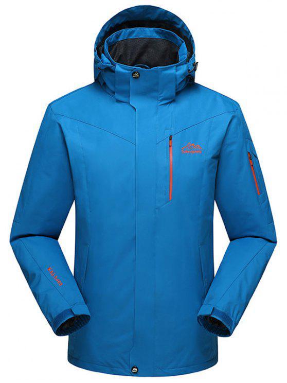 shops Hooded Polar Fleece Lining Wind Jacket - BLUE 3XL