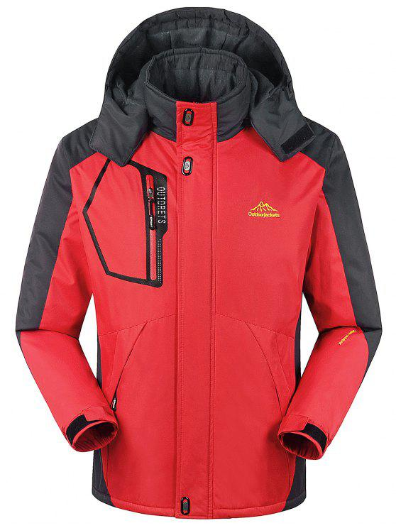 Forro de piel bloque de color cremallera chaqueta de viento - Rojo 5XL