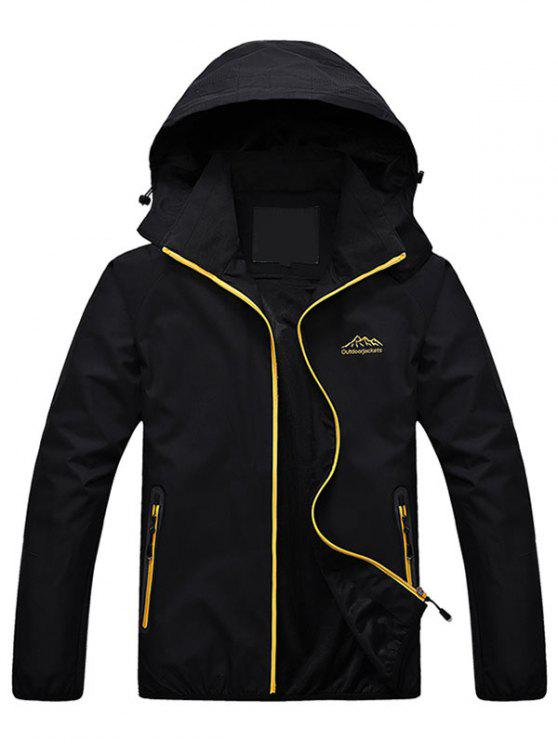 ladies Zippered Hooded Wind Jacket - BLACK XL