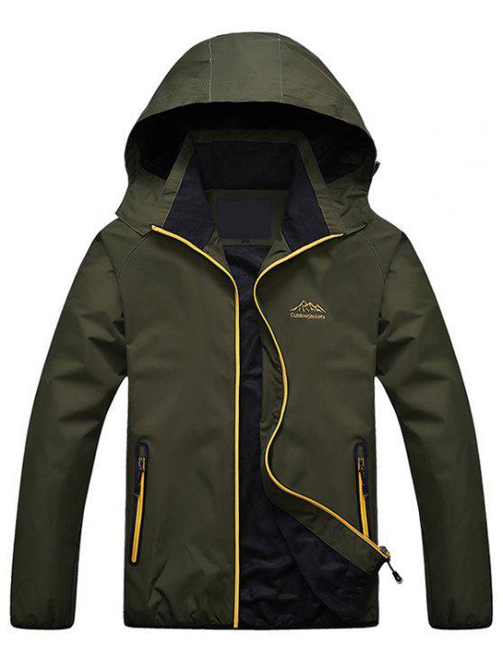 Chaqueta con capucha con cremallera - Verde del ejército L
