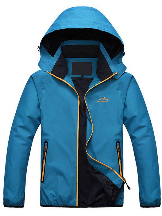 trendy Zippered Hooded Wind Jacket - LAKE BLUE 2XL