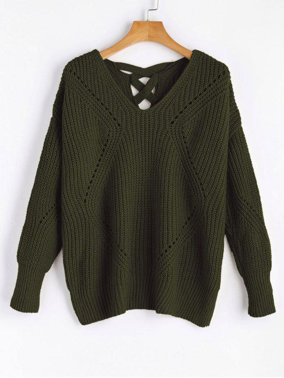 women's Sheer Criss Cross V Neck Sweater - ARMY GREEN ONE SIZE