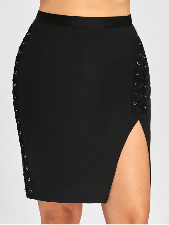 Jupe Bodycon Grande Taille à Lacets Taille Haute - Noir 5XL