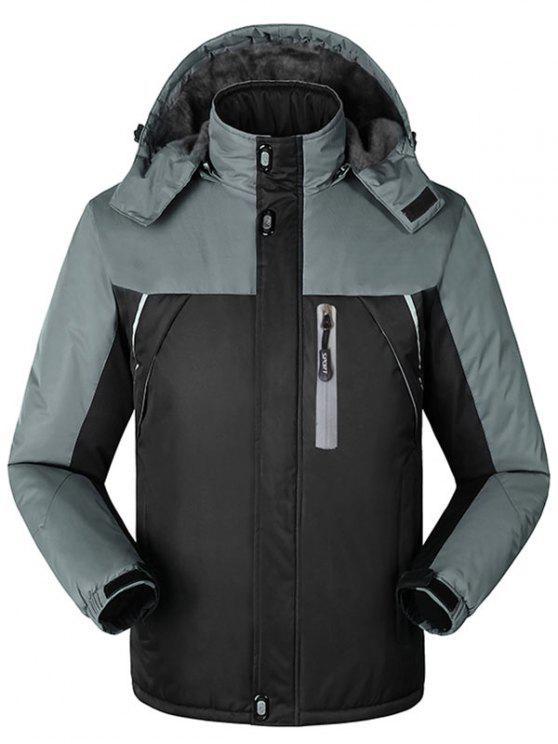 Forro de piel con capucha, chaqueta exterior con capucha - Negro 4XL