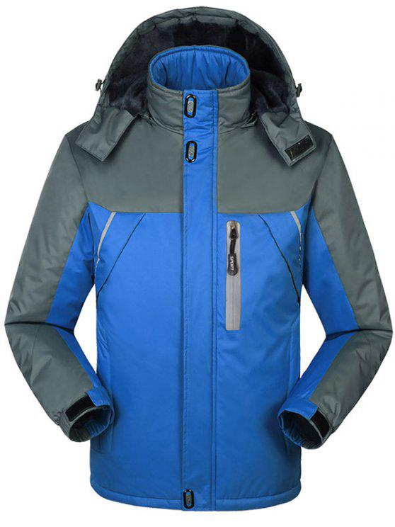shops Hooded Fur Lining Hooded Outdoor Jacket - BLUE L