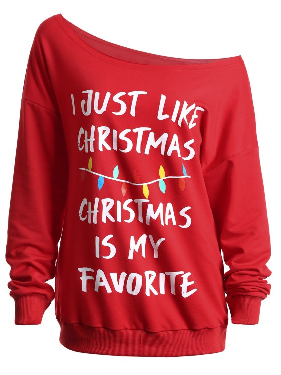 shops Christmas Slogan Letters Print Skew Neck Sweatshirt - RED 2XL