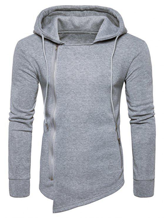 buy Hooded Drawstring Asymmetric Zip Up Hoodie - LIGHT GRAY 2XL