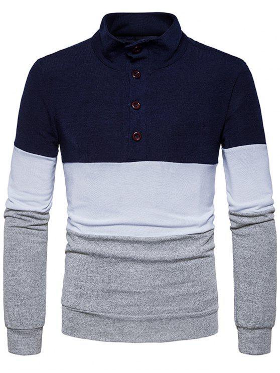 Botones del cuello del soporte Color Block Sweater de punto - Azul Marino  S