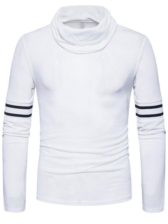 online Turtle Neck Stripe Rib Panel Knitted Sweater - WHITE XL