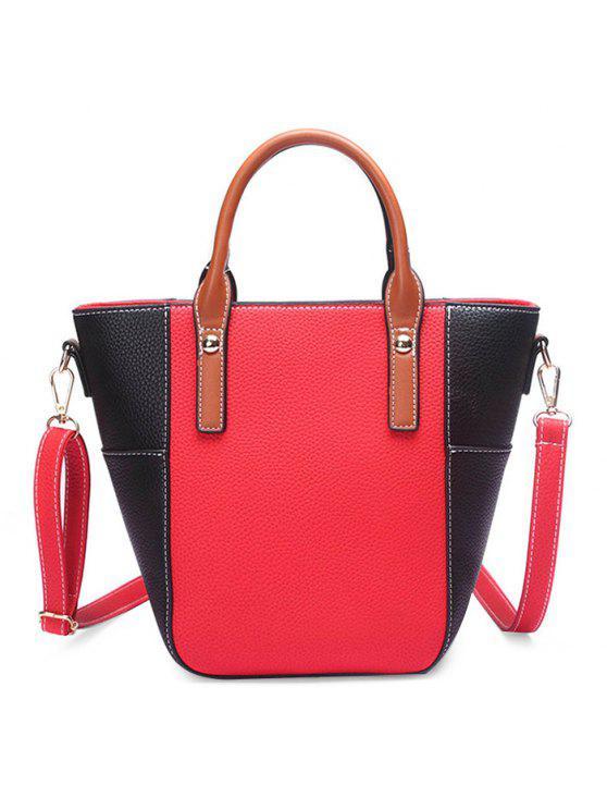 لون حجب خياطة المسامير حقيبة كروسبودي - أحمر
