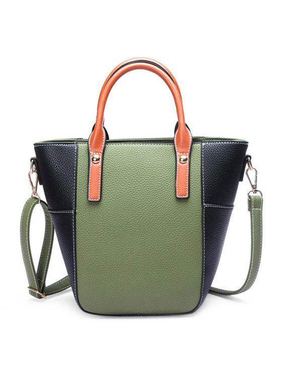 لون حجب خياطة المسامير حقيبة كروسبودي - GREEN