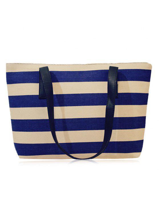 مخطط قماش كتلة اللون حقيبة الكتف - أزرق