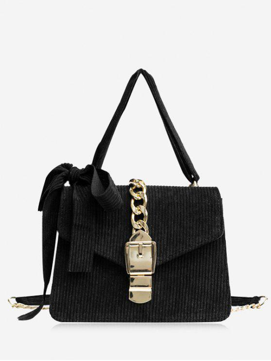 outfits Buckle Strap Bow Chain Crossbody Bag - BLACK