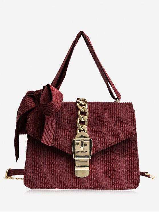 shops Buckle Strap Bow Chain Crossbody Bag - RED