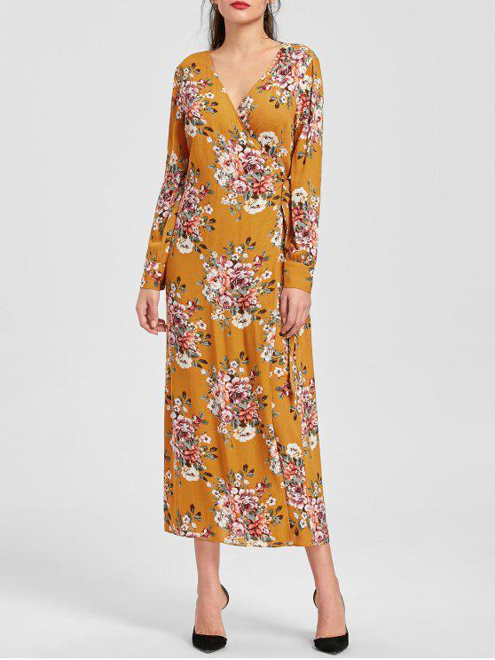 927ee4dc1d384 29% OFF] 2019 Long Sleeve Floral Print Maxi Wrap Dress In EARTHY | ZAFUL