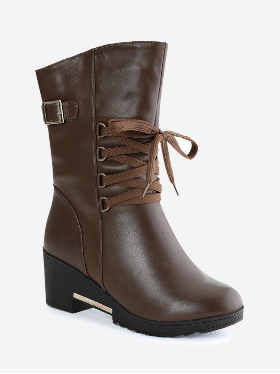 a807cec7ac5a 38% OFF  2019 Buckle Strap Wedge Heel Mid Calf Boots In BROWN