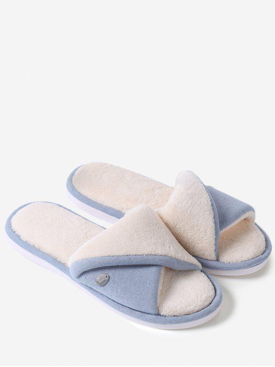 womens Faux Fur Warm Open Toe House Slippers - BLUE SIZE(36-37)