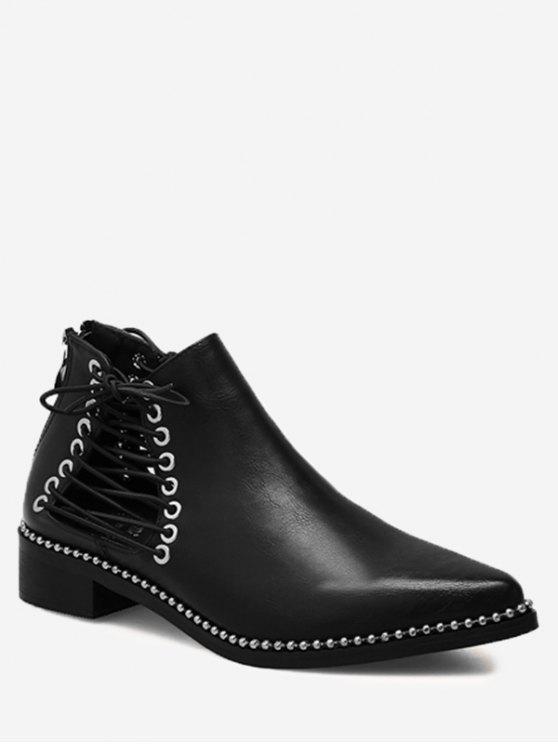 حذاء مدبب من الأمام مزين من الجانبين بأربطة وحلقات معدنية - أسود 35 / 5.5
