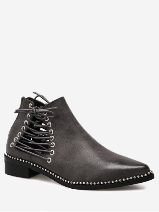 حذاء مدبب من الأمام مزين من الجانبين بأربطة وحلقات معدنية - رمادي 35 / 5.5
